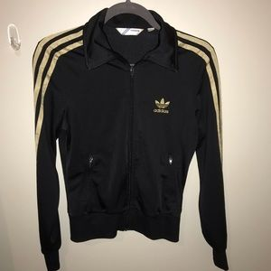 ADIDAS black with gold track jacket